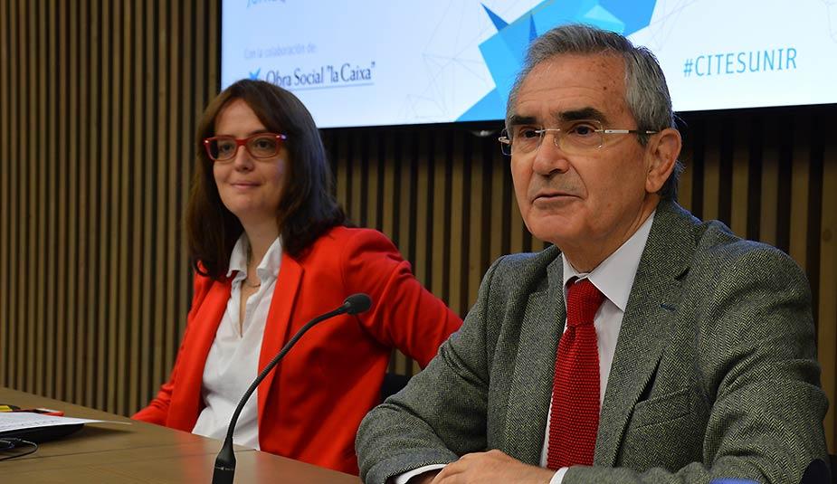 Julio Montero y María Gómez en la rueda de prensa del CITES