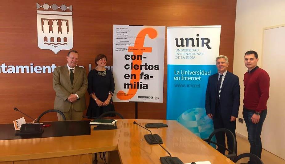 Acuerdo UNIR, ayuntamiento logroño y gobierno, conciertos en familia