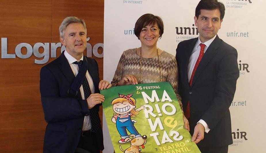 Josu Ahedo, Pilar Montes, Eduardo Rodríguez, presentación 36 Festival Marionetas