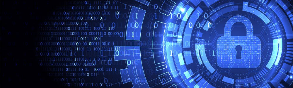 Seguridad informática, candado azul