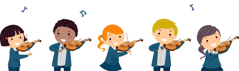 Aprendizaje musical; dibujo de niños en uniforme escolar tocando el violin