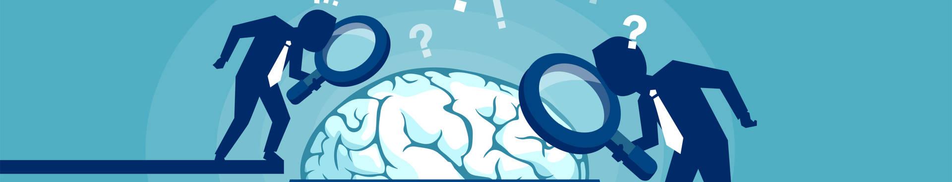 grafica de dos hombres mirando con lupa el cerebro