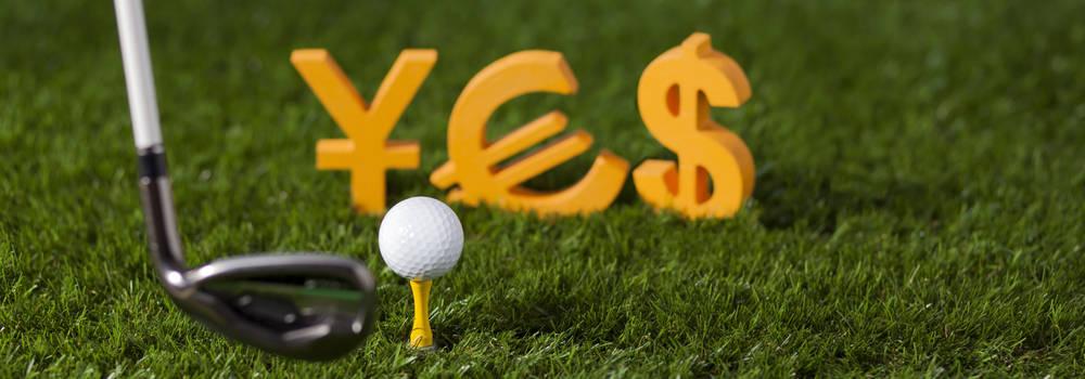 cesped, palo y bola de golf con simbolos
